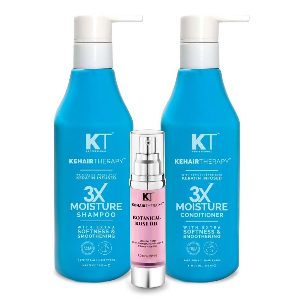 KT 3X Moisture Shampoo & Conditioner 250Ml For Extra Softness And Smoothing + Botanical Rose Oil Serum 50Ml (1Pack)