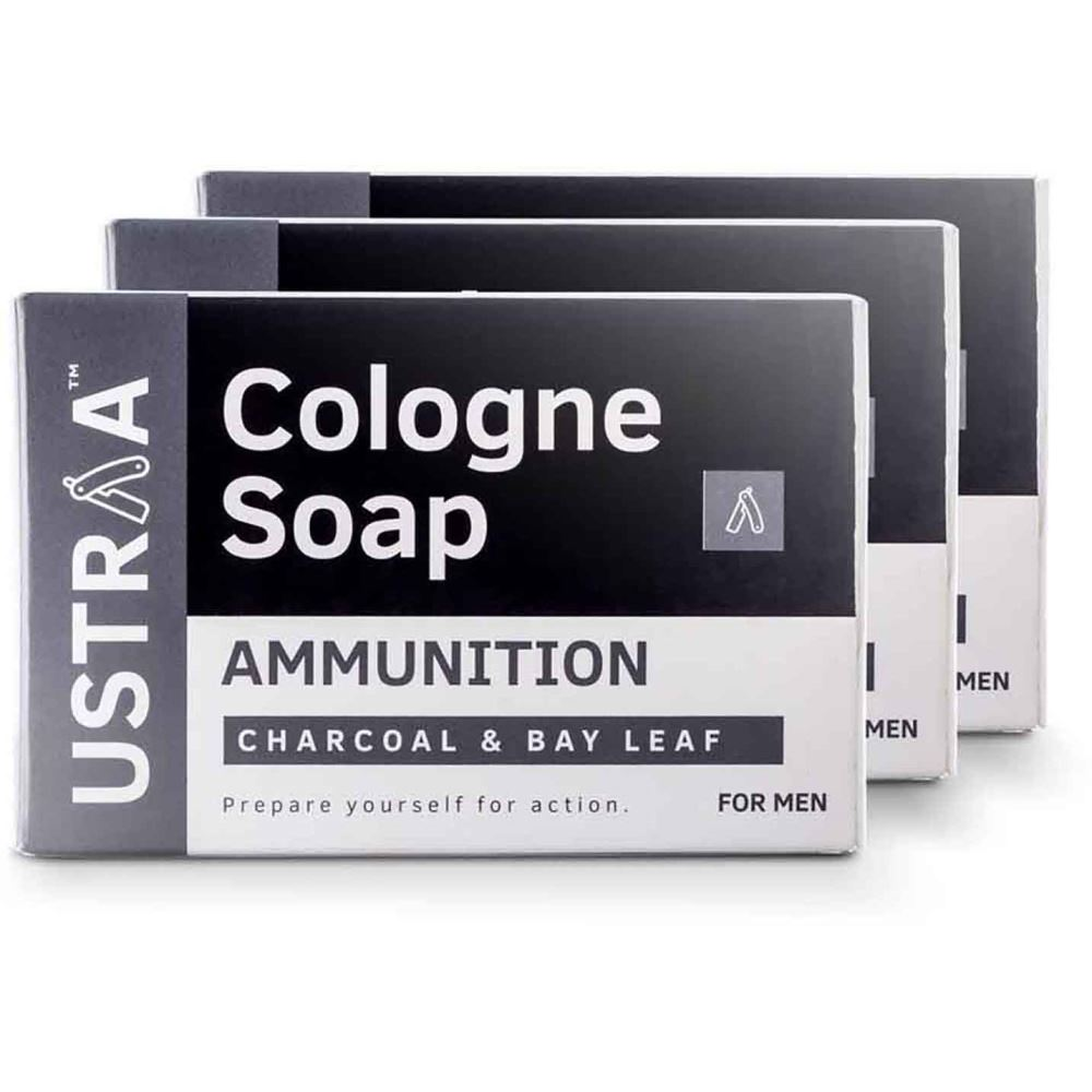 Ustraa Ammunition Cologne Soap With Charcoal & Bay Leaf (125g, Pack of 3)