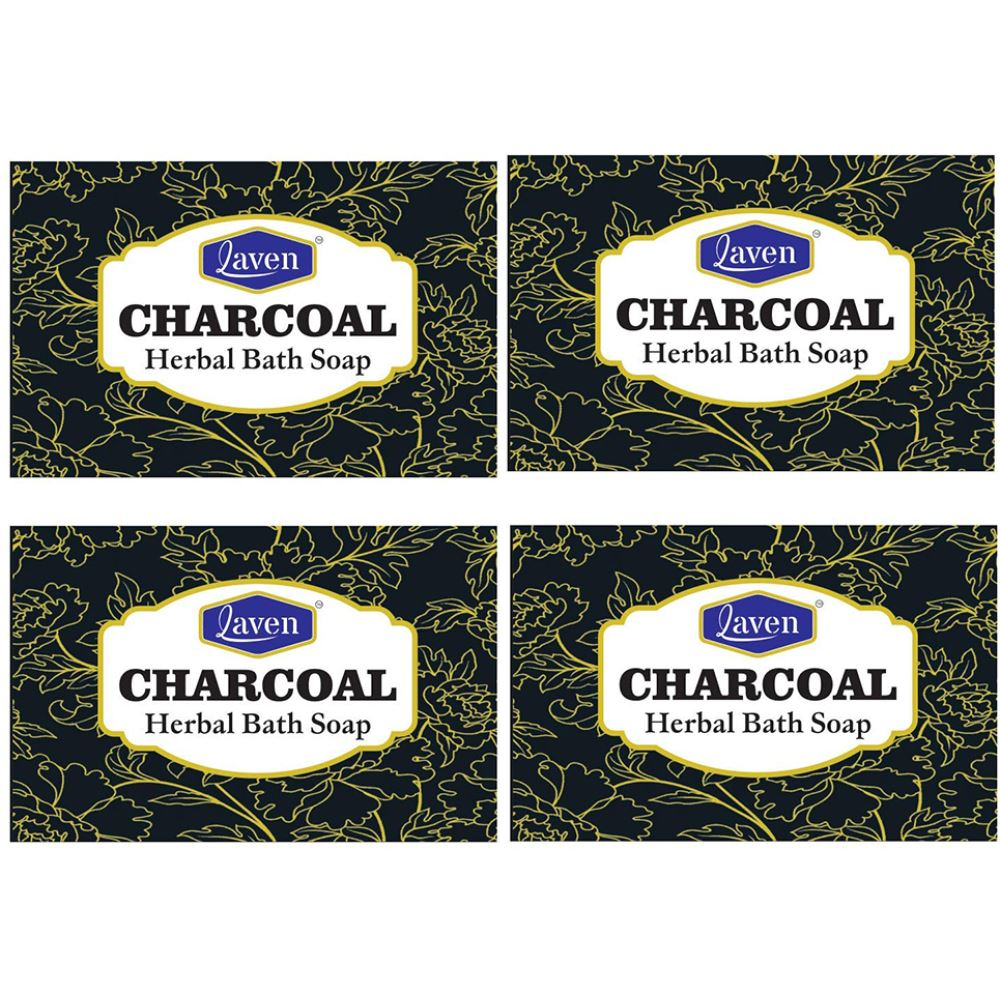 Laven Charcoal Soap (100g, Pack of 4)