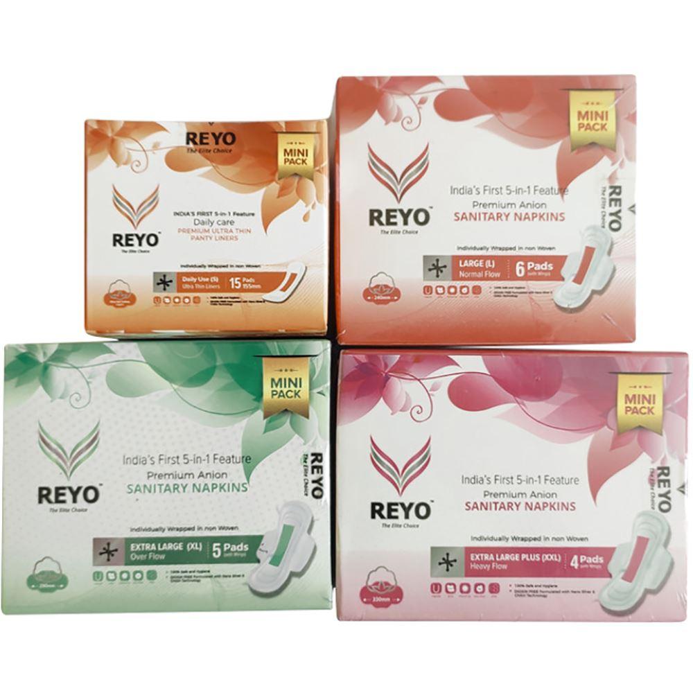Reyo Anion Premium Sanitary Napkins Combo(155MM-15Pads, 240MM-6Pads, 290MM-5Pads, 330MM-4Pads) (1Pack)