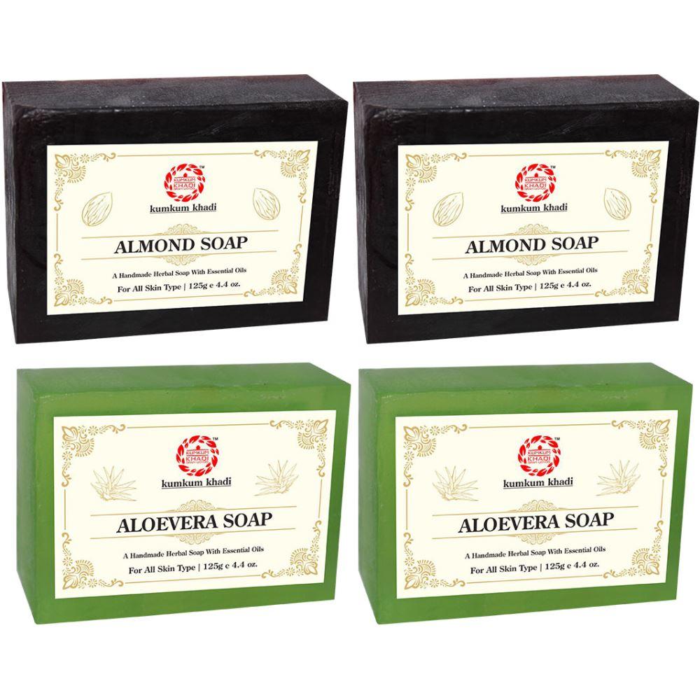 Kumkum Khadi Herbal Almond And Aloevera Soap (125g, Pack of 4)