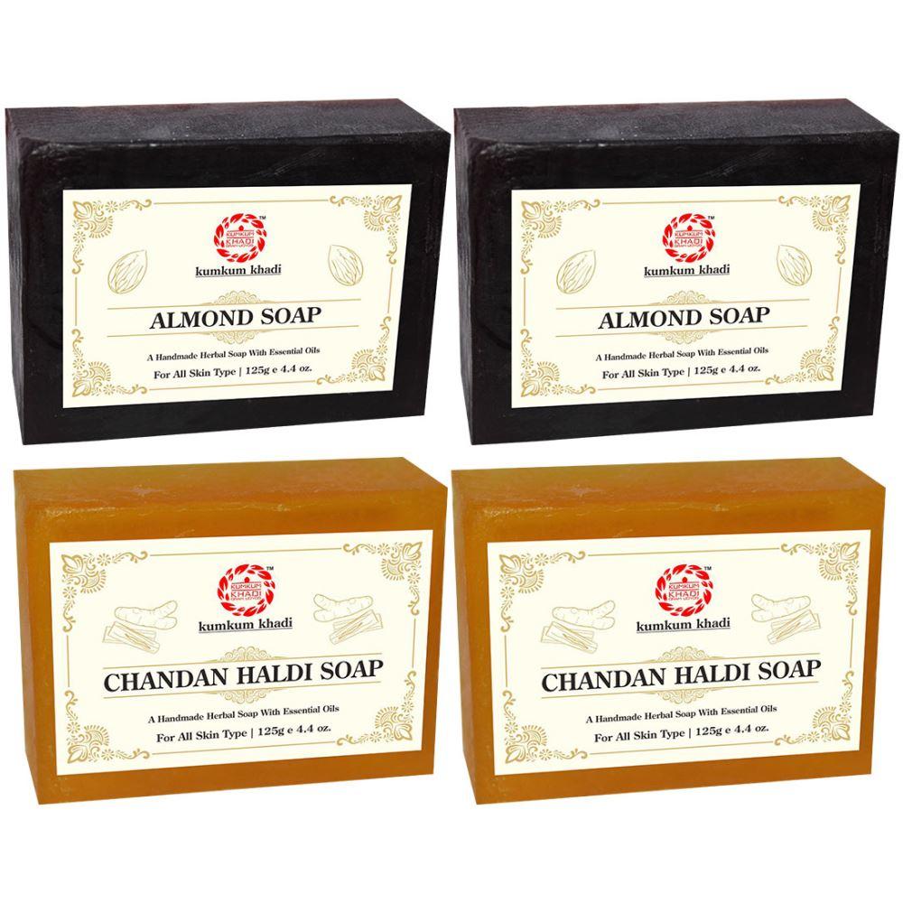 Kumkum Khadi Herbal Almond And Chandan Haldi Soap (125g, Pack of 4)