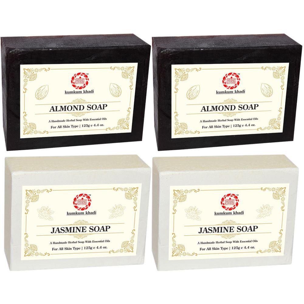 Kumkum Khadi Herbal Almond And Jasmine Soap (125g, Pack of 4)