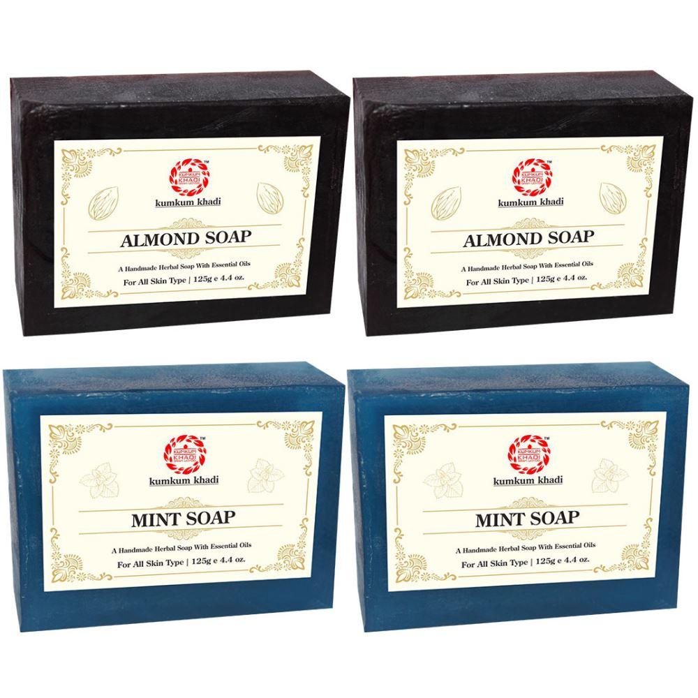 Kumkum Khadi Herbal Almond And Mint Soap (125g, Pack of 4)