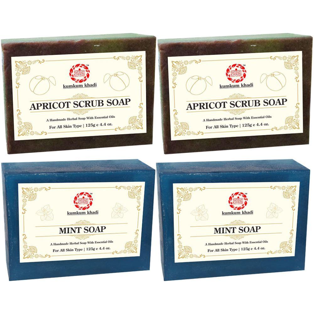 Kumkum Khadi Herbal Apricot Scrub And Mint Soap (125g, Pack of 4)