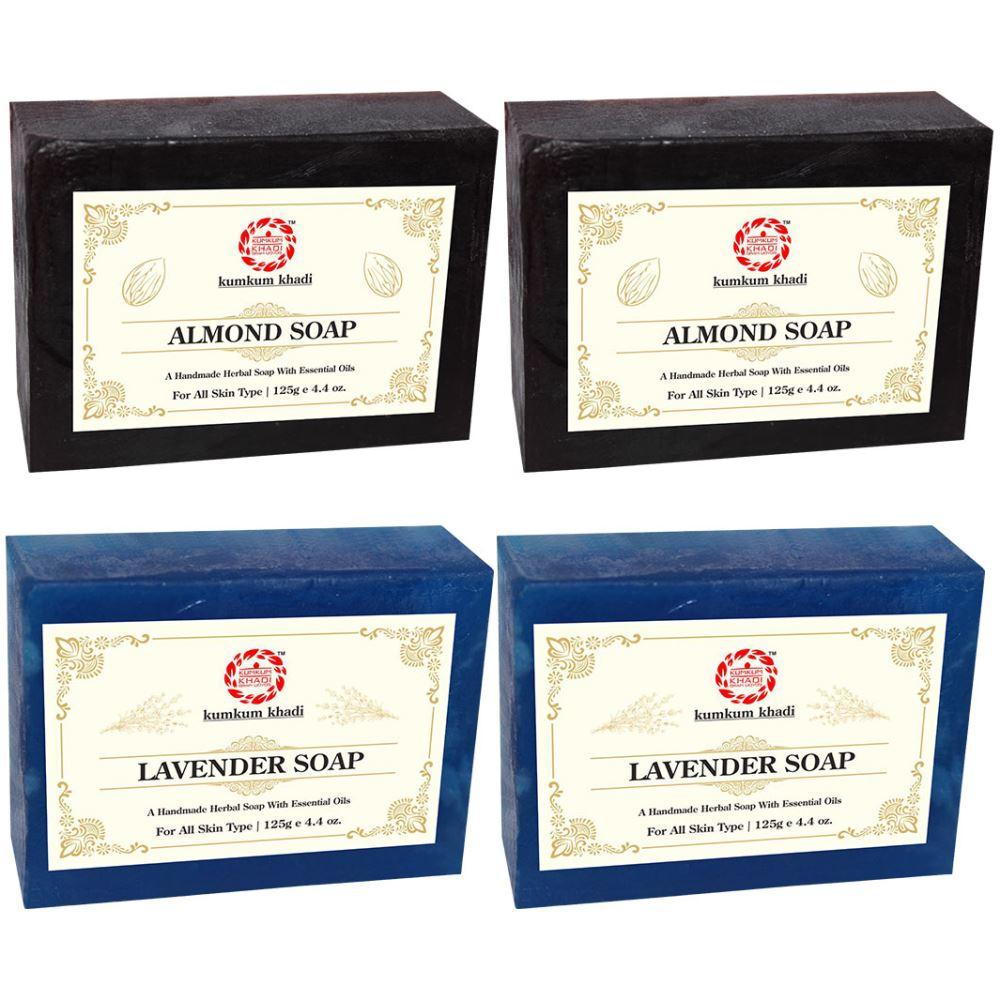Kumkum Khadi Herbal Almond And Lavender Soap (125g, Pack of 4)