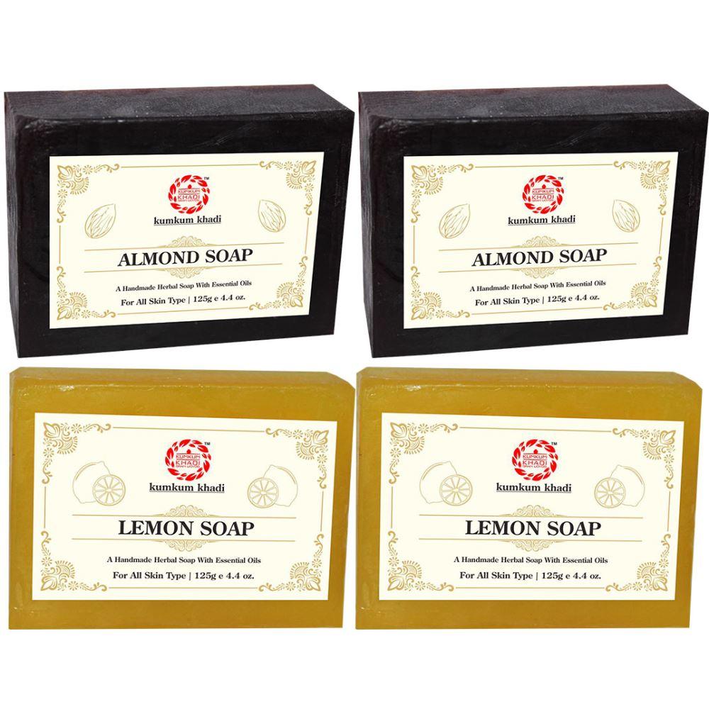 Kumkum Khadi Herbal Almond And Lemon Soap (125g, Pack of 4)