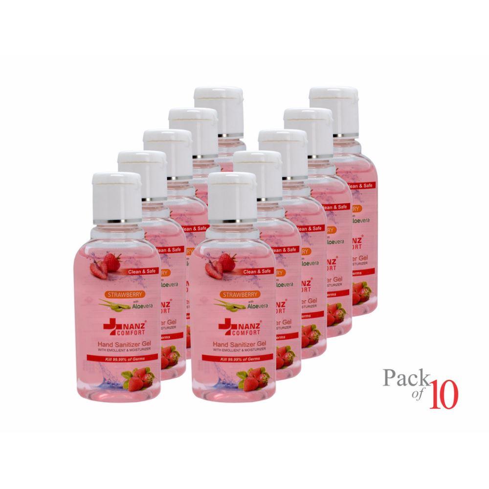 Nanz Comfort Hand Sanitizer Strawberry Gel (60ml, Pack of 10)