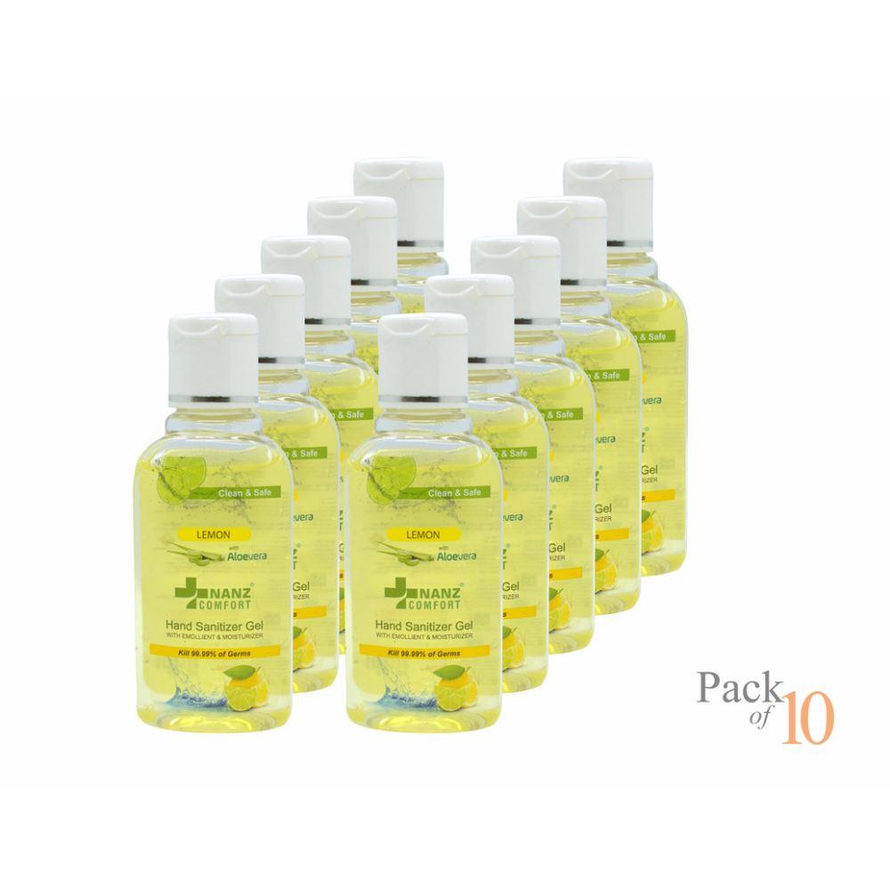 Nanz Comfort Hand Sanitizer Lemon And Aloe Vera Gel (60ml, Pack of 10)