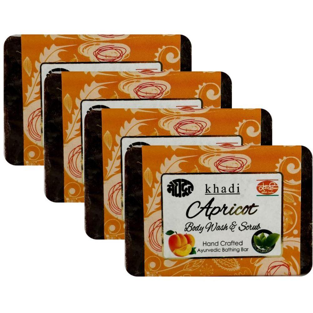 Meghdoot Apricot Body Wash & Scrub Soap (125g, Pack of 4)