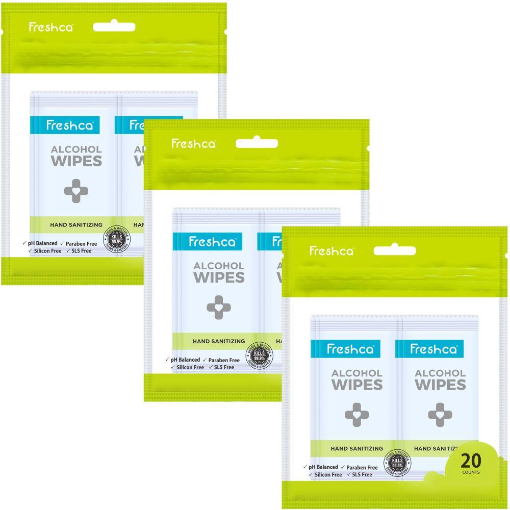 Freshca Hand Sanitizing Wet Wipes (20pcs, Pack of 3)