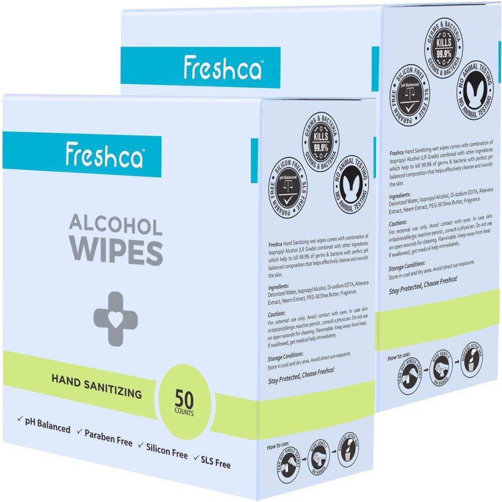 Freshca Hand Sanitizing Wet Wipes (50pcs, Pack of 2)