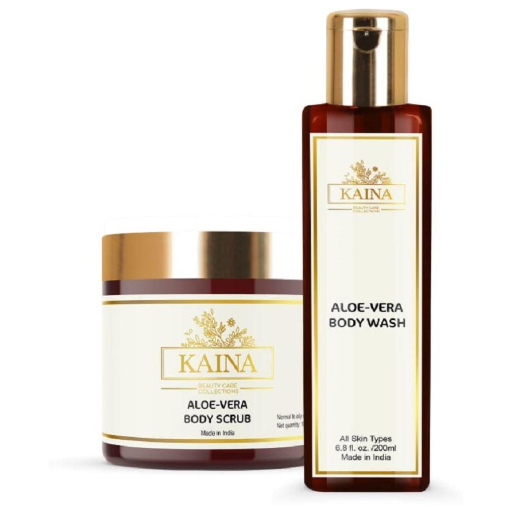 Kaina Skincare Aloevera Body Scrub & Wash Combo (1Pack)