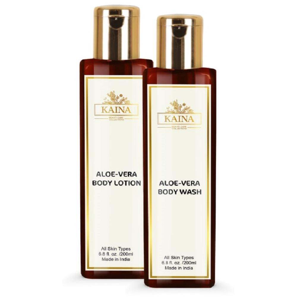Kaina Skincare Aloevera Body Lotion & Wash Combo (1Pack)