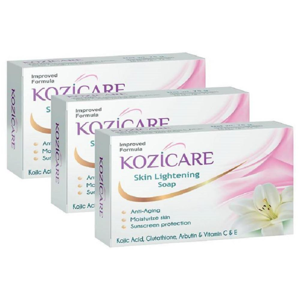 Kozicare Kojic Acid, Vitamin E, Arbutin Skin Lightening Soap (75g, Pack of 3)