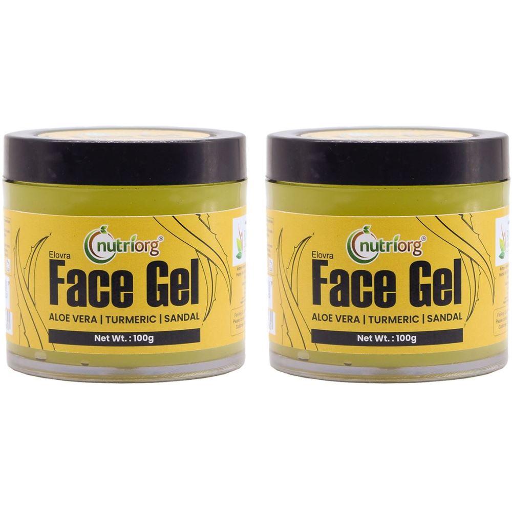 Nutriorg Certified Aloevera Face Gel Sandal & Turmeric (100g, Pack of 2)