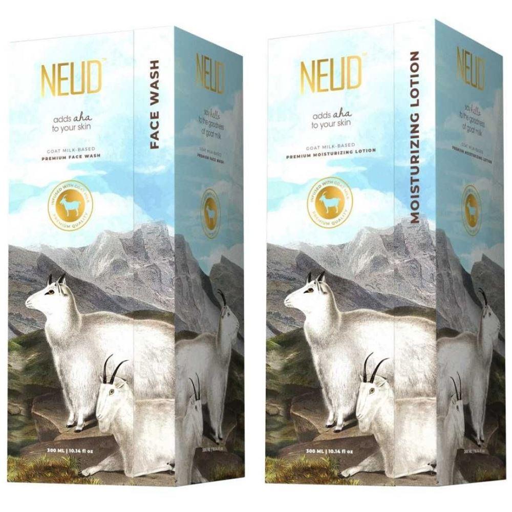 NEUD Goat Milk Premium Face Wash & Moisturizing Lotion Combo (1Pack)