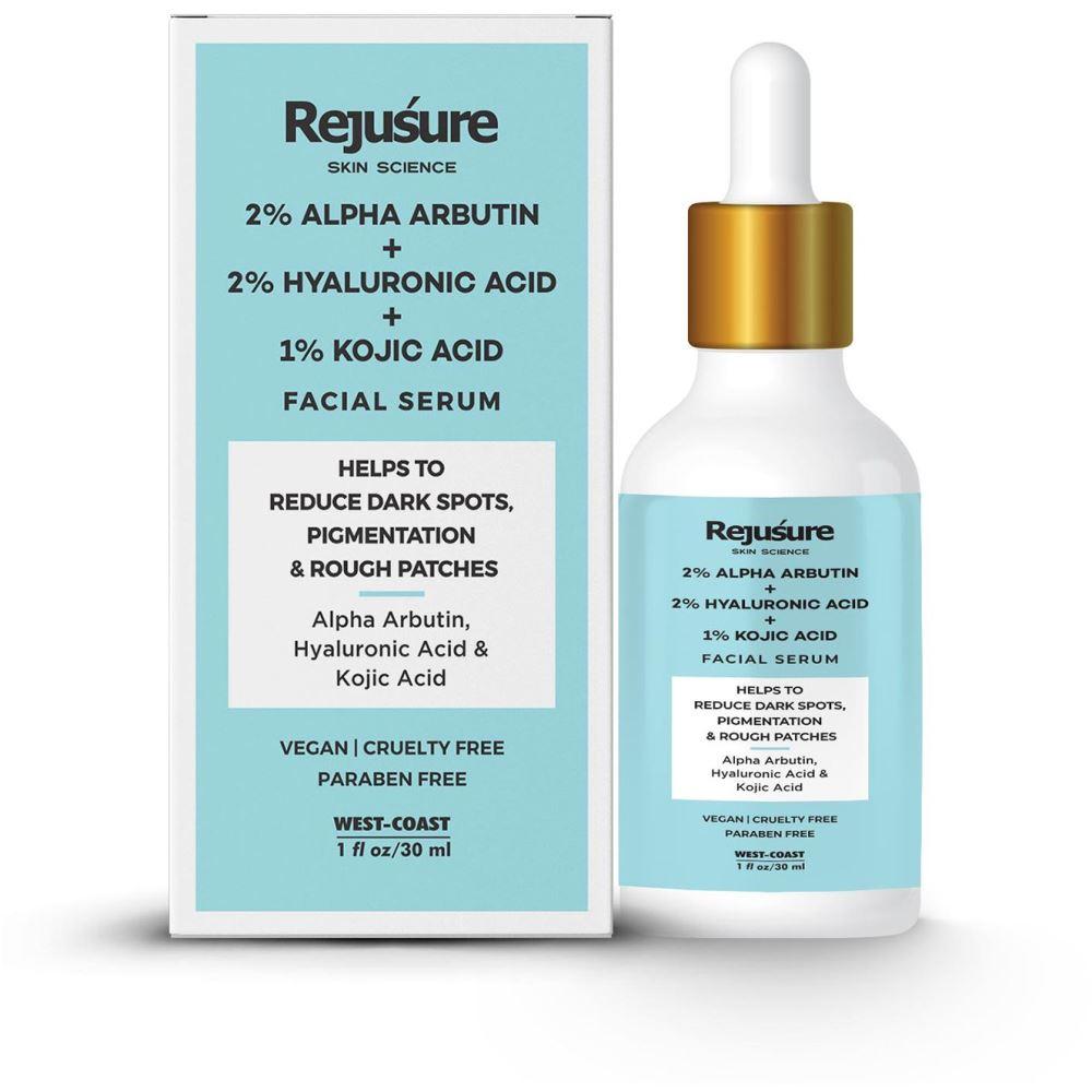 Rejusure Alpha Arbutin 2% + Hyaluronic Acid 2% + Kojic Acid 1% Face Serum (30ml)