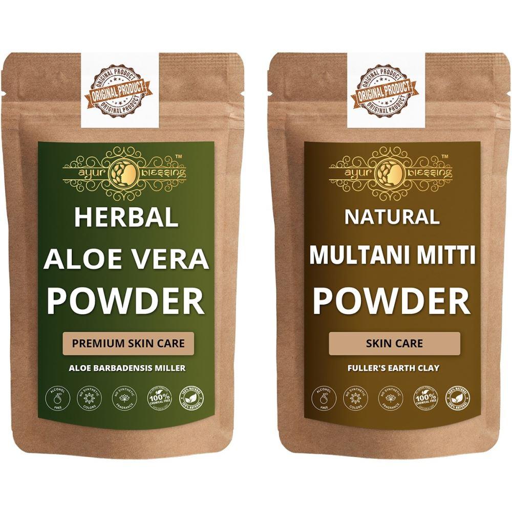 Ayur Blessing Aloe Vera Leaf and Multani Mitti Powder Combo Pack (1Pack)