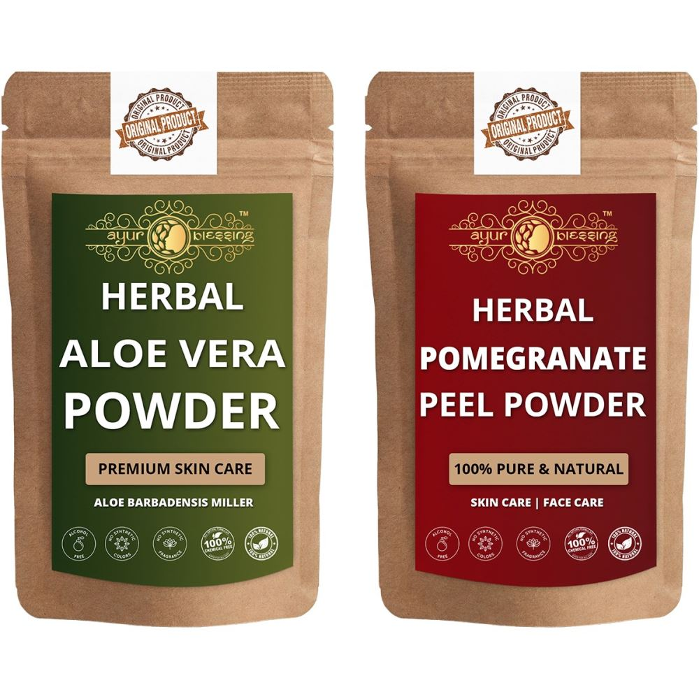 Ayur Blessing Aloe Vera Leaf and Pomegranate Peel Powder Combo Pack (1Pack)