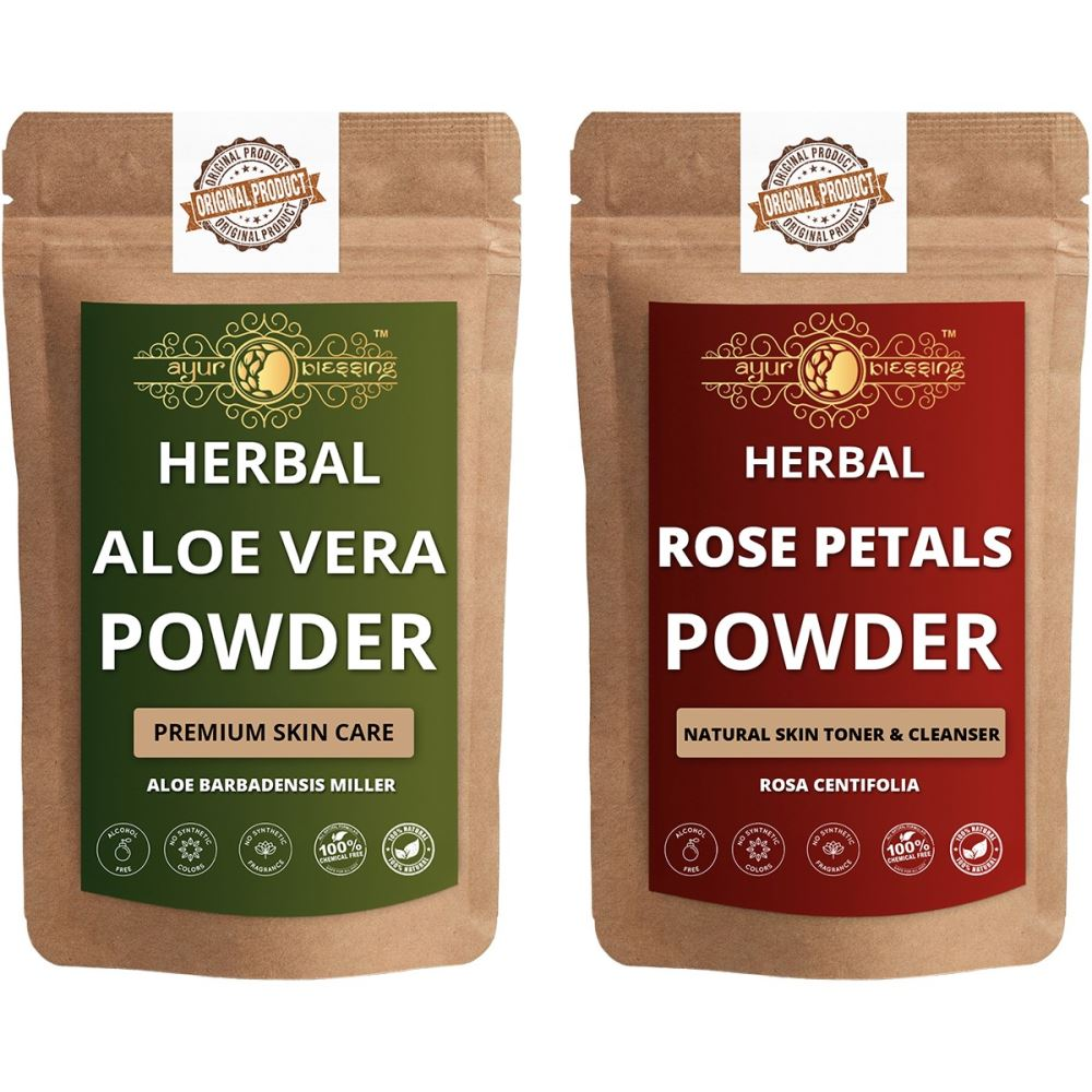 Ayur Blessing Aloe Vera Leaf and Rose Petals Powder Combo Pack (1Pack)
