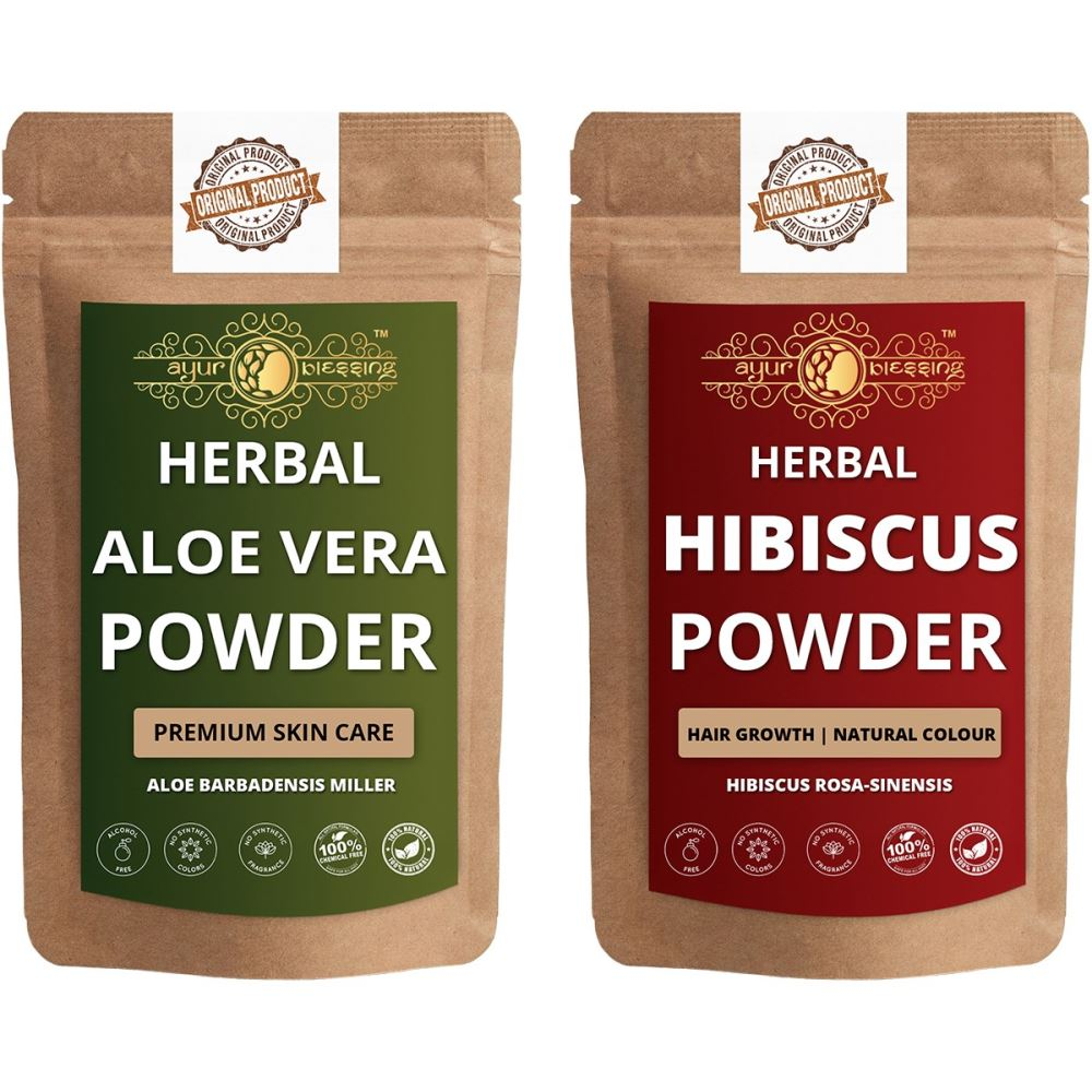 Ayur Blessing Aloe Vera Leaf and Hibiscus Powder Combo Pack (1Pack)