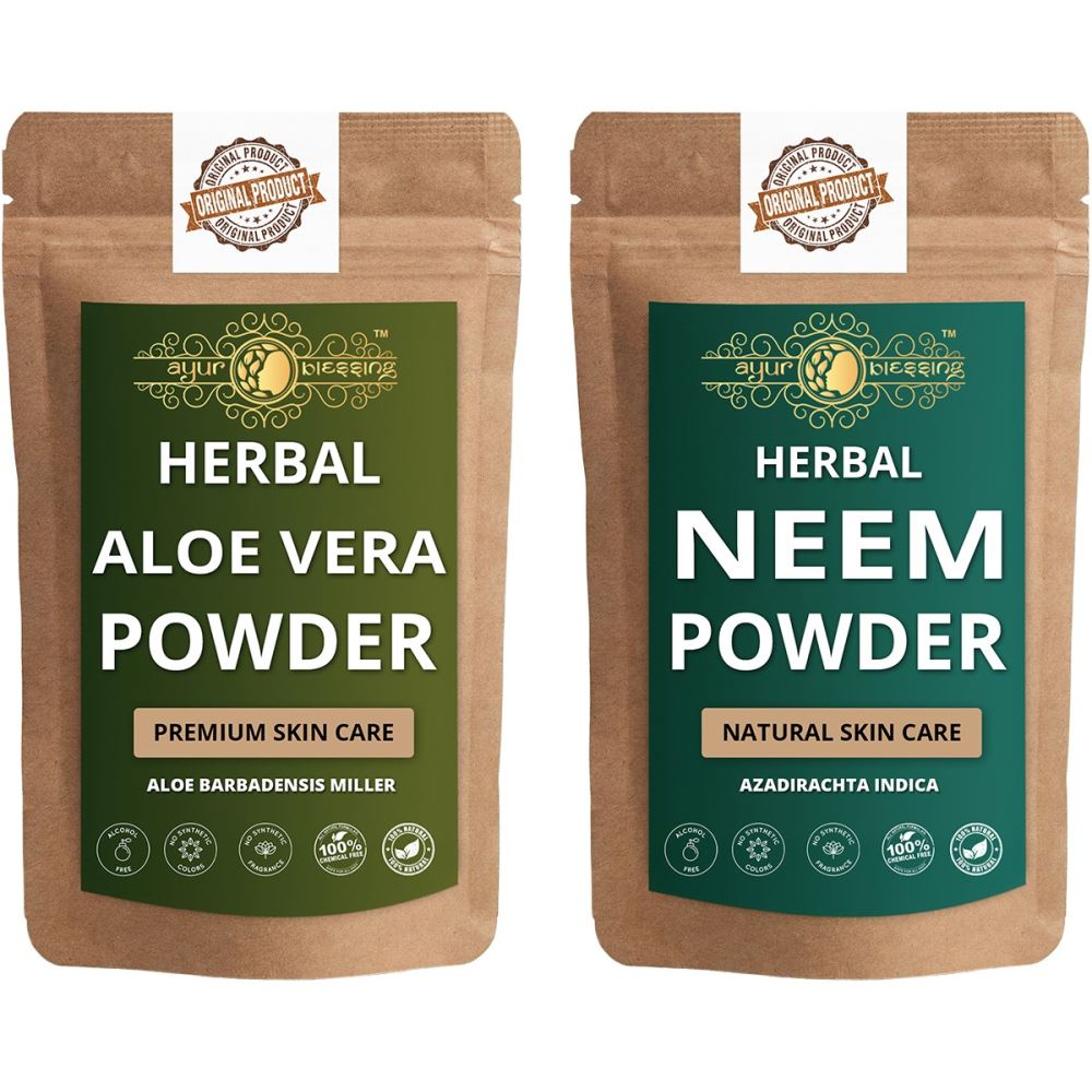 Ayur Blessing Aloe Vera Leaf and Neem Powder Combo Pack (1Pack)