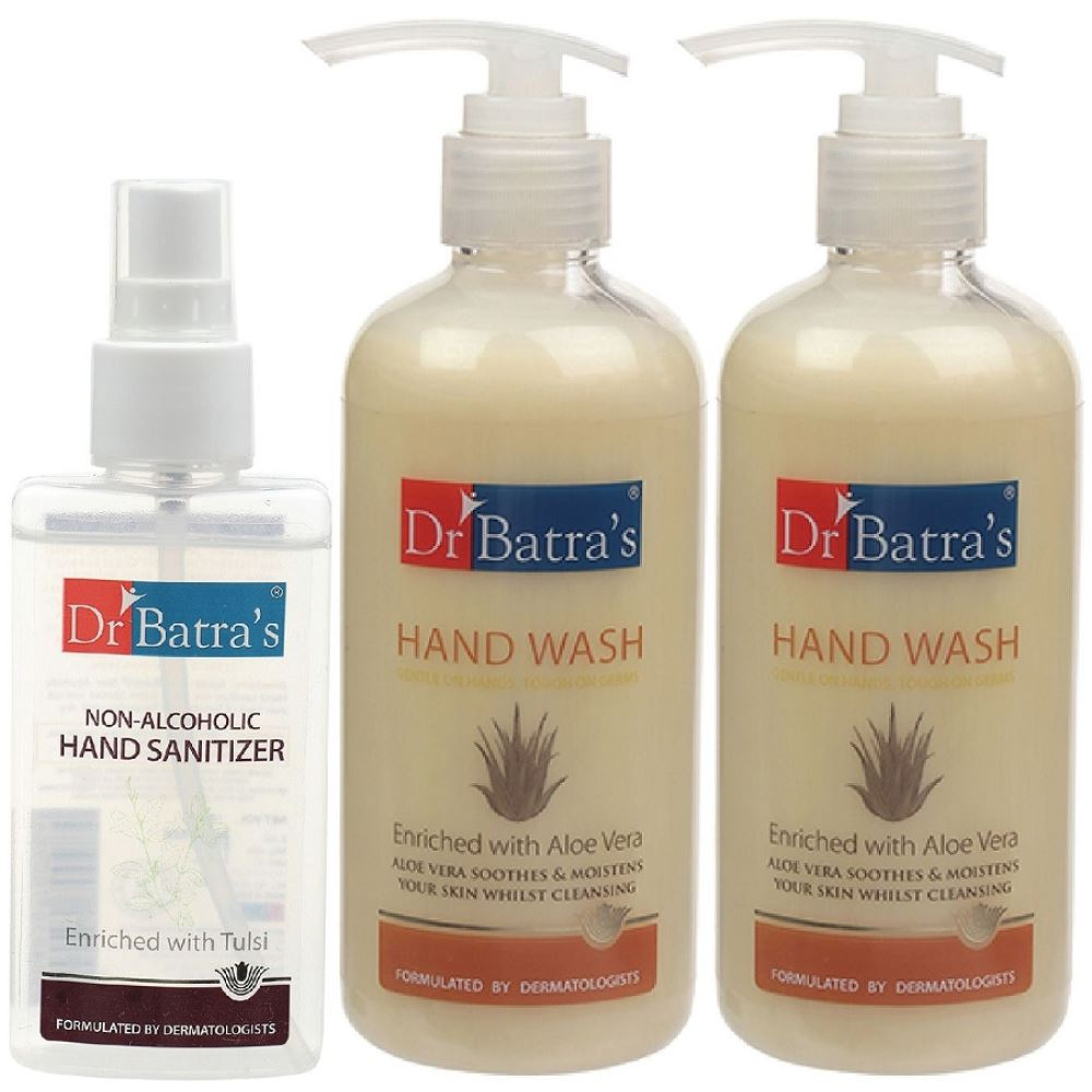 Dr Batras Aloevera Hand Wash & Non Alcoholic Hand Sanitizer Combo (1Pack)