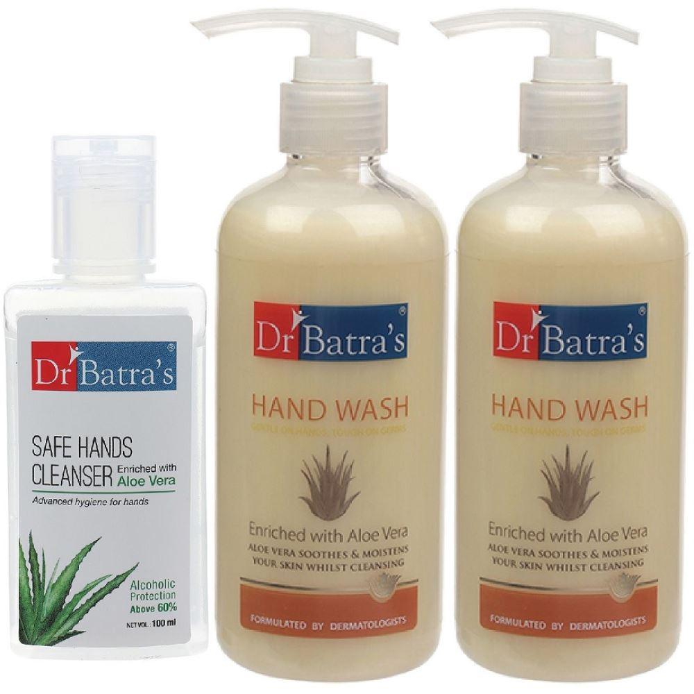 Dr Batras Aloevera Hand Wash & Safe Hands Cleanser Combo (1Pack)