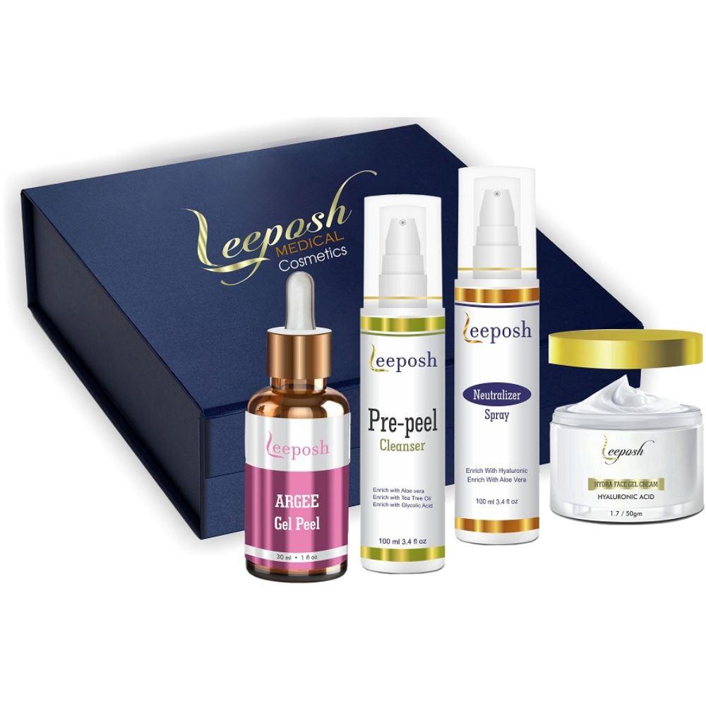 Leeposh Argee Gel Peel, Pre Peel Cleanser, Neutralizer Spray & Hydra Face Gel Cream Combo (1Pack)