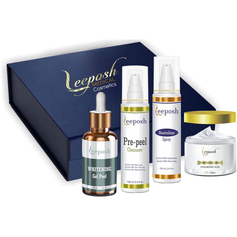 Leeposh Brightening Gel Peel, Pre Peel Cleanser, Neutralizer Spray & Hydra Face Gel Cream Combo (1Pack)