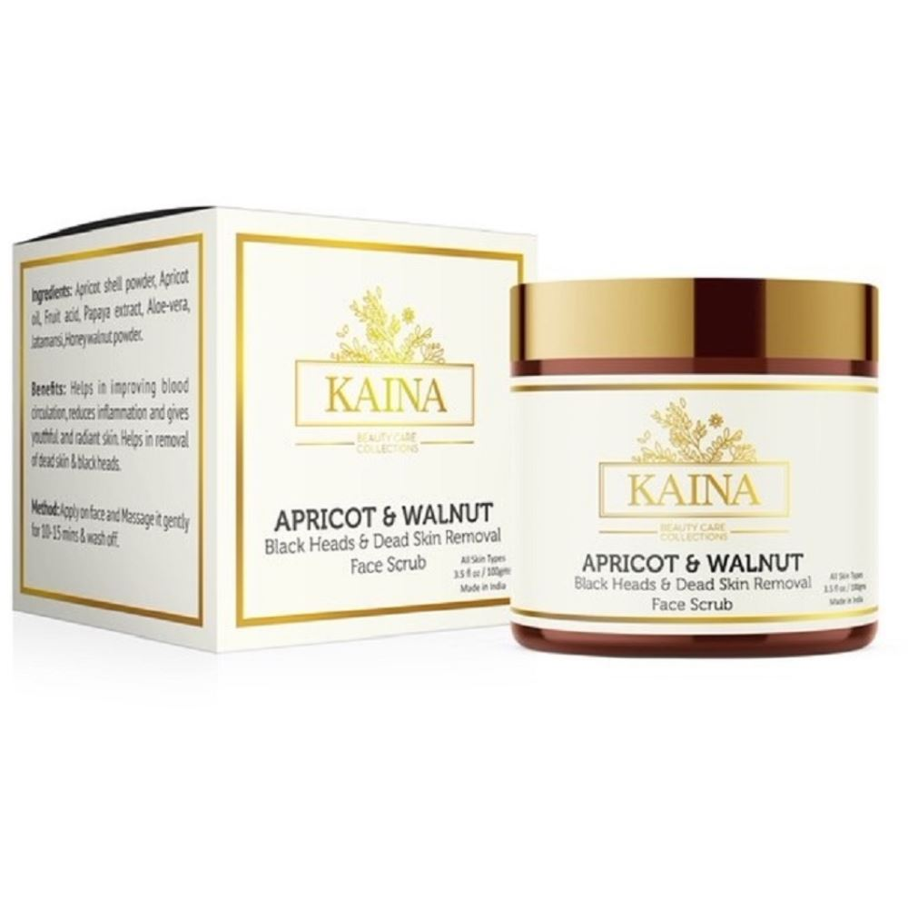 Kaina Skincare Apricot And Walnut- Black Head And Dead Skin Removal Face Scrub (100g)