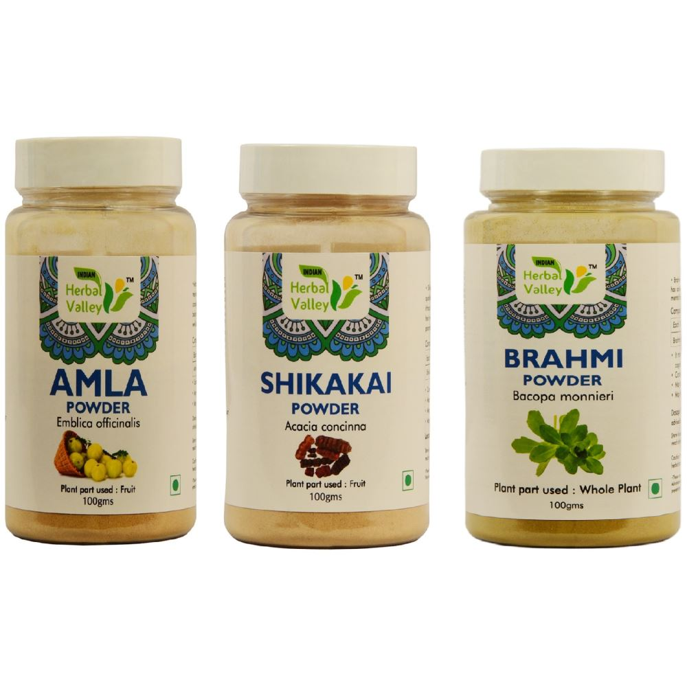 Indian Herbal Valley Amla, Shikakai & Brahmi Powder Combo (1Pack)