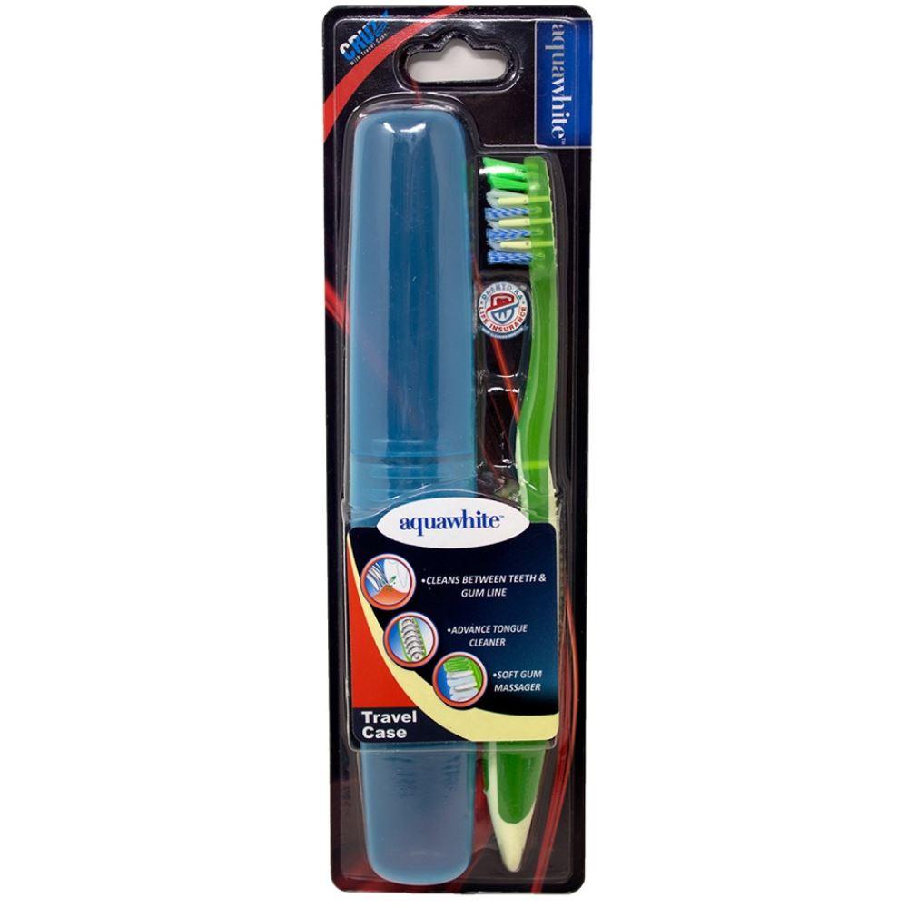Aquawhite Cruz Toothbrush With Travel Case (Green) (1pcs)