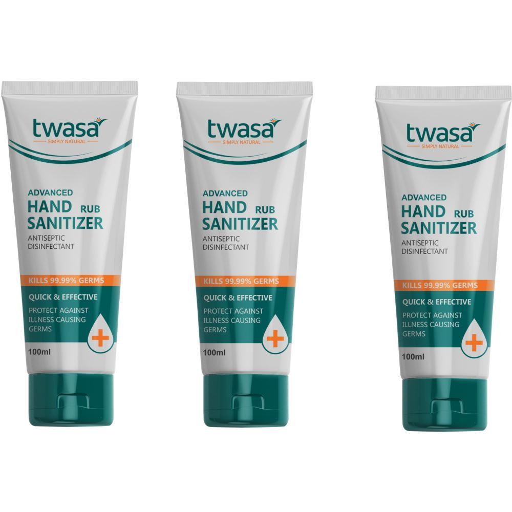 Twasa Advanced Hand Rub Sanitizer (100ml, Pack of 3)