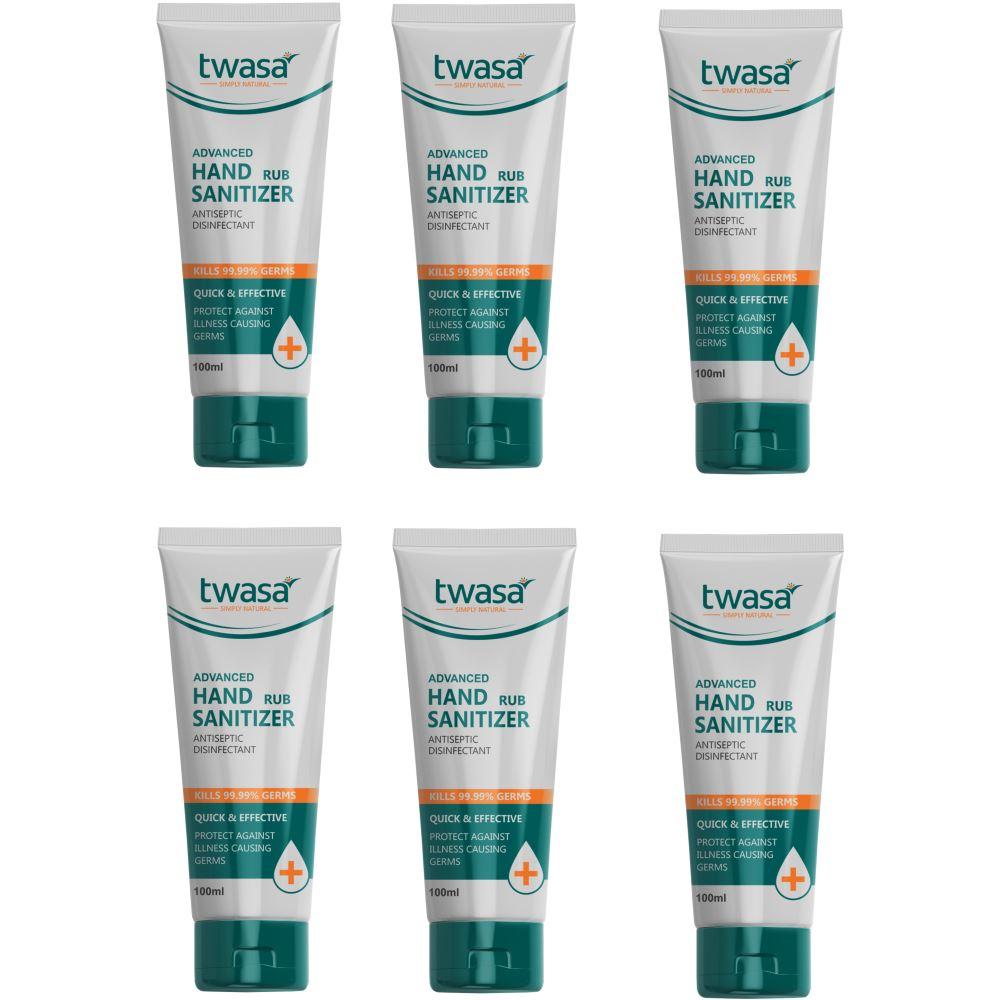 Twasa Advanced Hand Rub Sanitizer (100ml, Pack of 6)