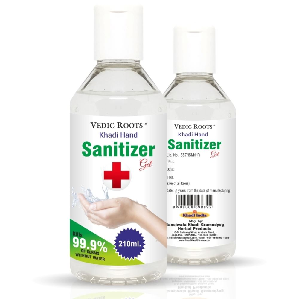 Vedic Roots Instant Hand Rub Sanitizer Gel (210ml, Pack of 2)
