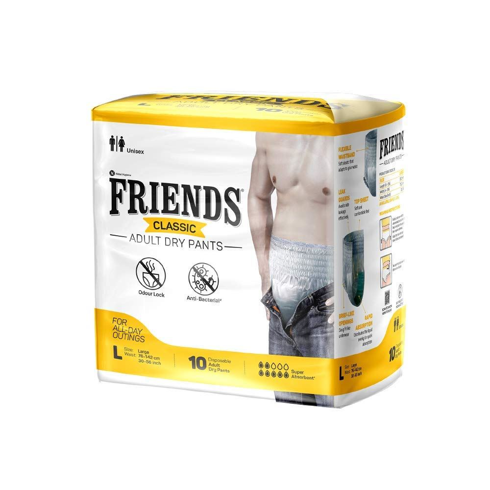 Friends Classic Adult Diapers Pants Style (L, Pack of 10)
