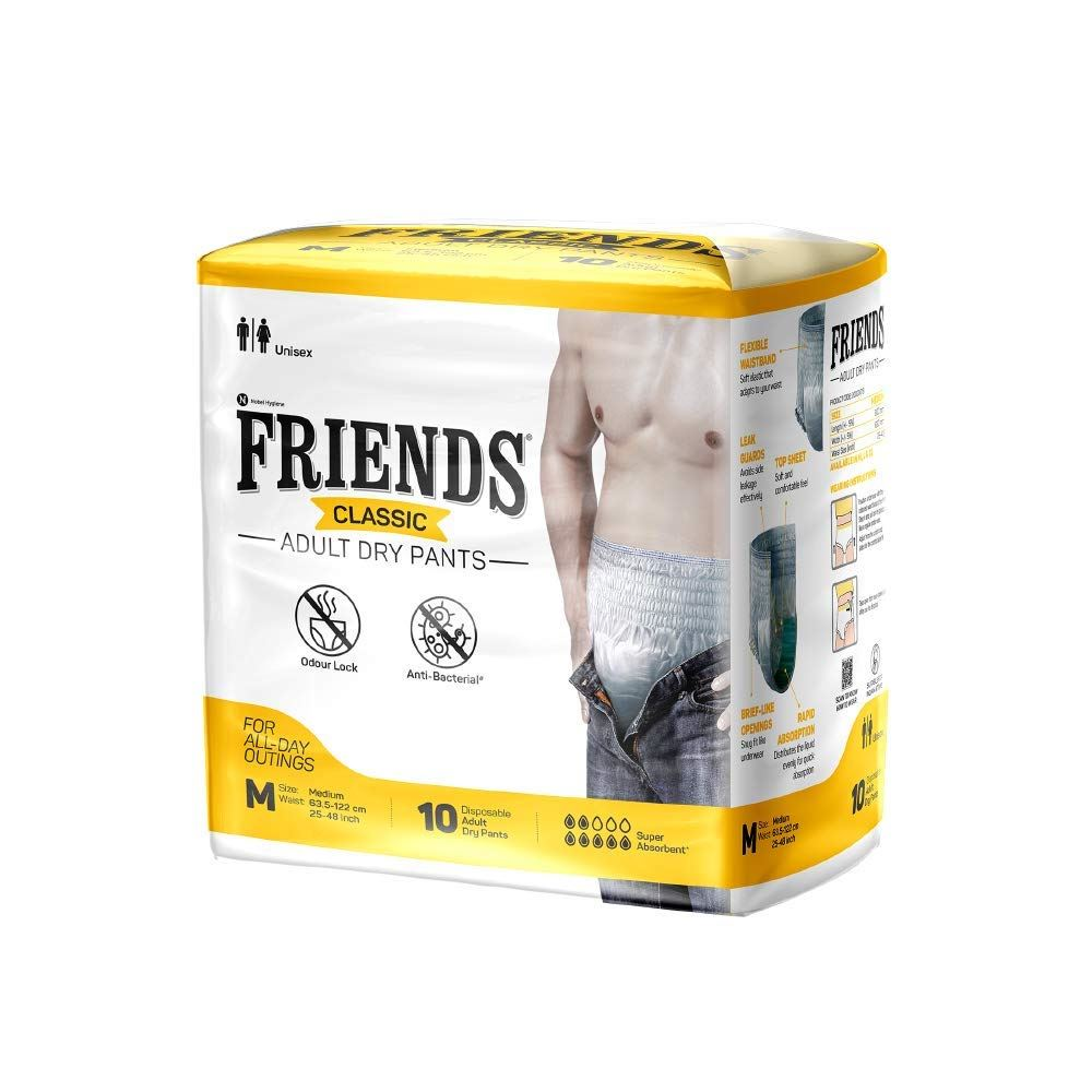 Friends Classic Adult Diapers Pants Style (M, Pack of 10)