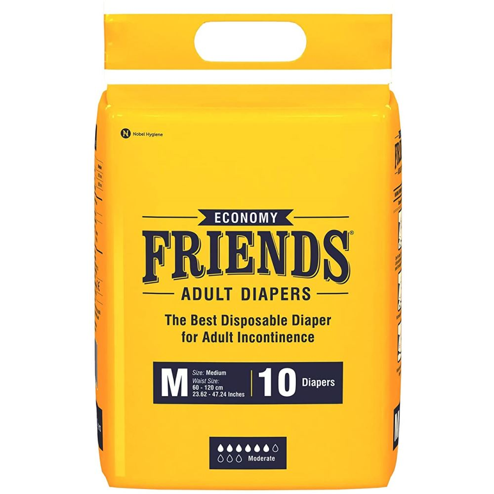 Friends Economy Adult Diapers Tape Style (M, Pack of 10)