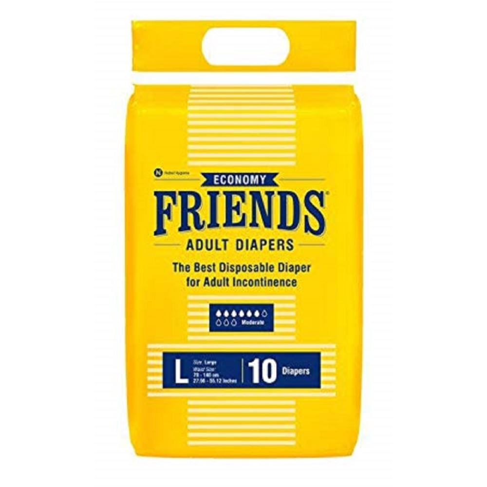 Friends Economy Adult Diapers Tape Style (L, Pack of 10)