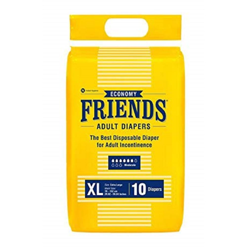 Friends Economy Adult Diapers Tape Style (XL, Pack of 10)