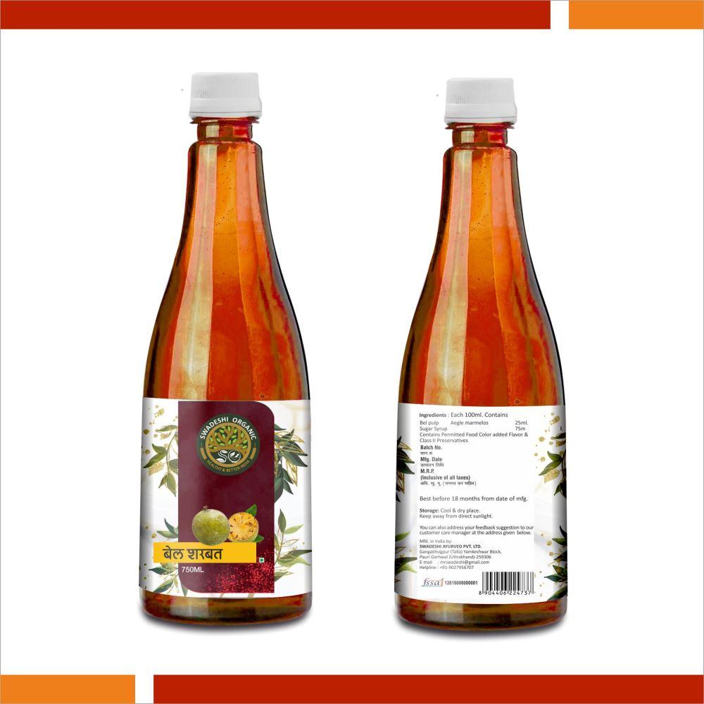 Swadeshi Organic Bel Sharbat (750ml)