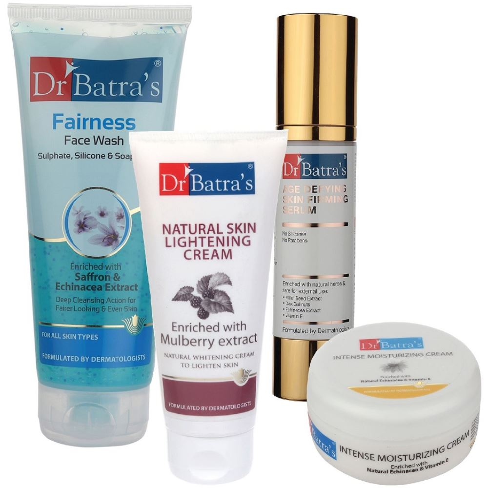 Dr Batras Age Defying Skin Firming Serum, Fairness Face Wash, Natural Skin Lightening Cream & Intense Moisturizing Cream Combo (50g+200g+100g+100g) (1Pack)