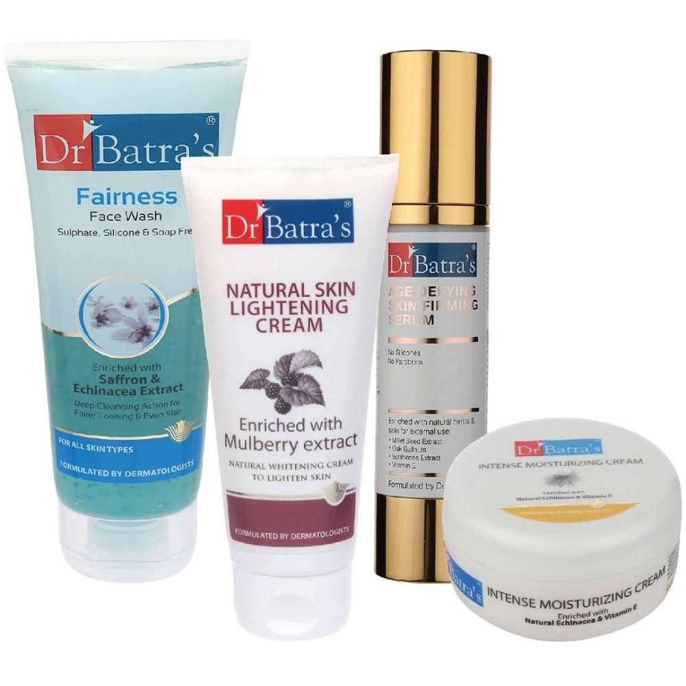 Dr Batras Age Defying Skin Firming Serum, Fairness Face Wash, Natural Skin Lightening Cream & Intense Moisturizing Cream Combo (50g+100g+100g+100g) (1Pack)