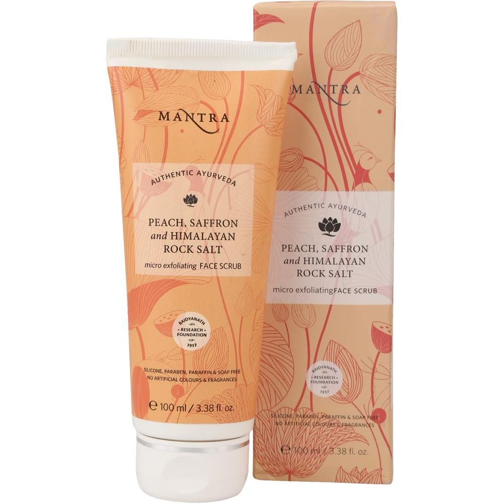 Mantra Herbal Peach & Saffron Himalayan Rock Salt Micro Exfoliating Face Scrub (100ml)