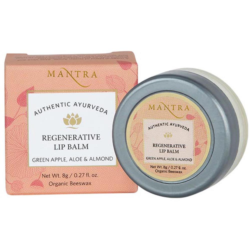 Mantra Herbal Regenerative Lip Balm Green Apple, Aloe & Almond  (8g)