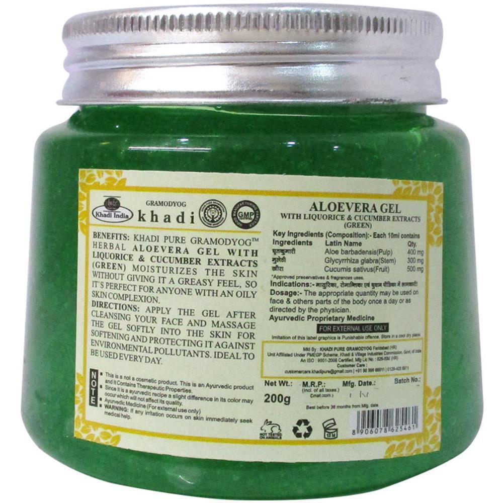 Khadi Pure Aloevera Gel With Liquorice & Cucumber Extracts (Green) (200g)