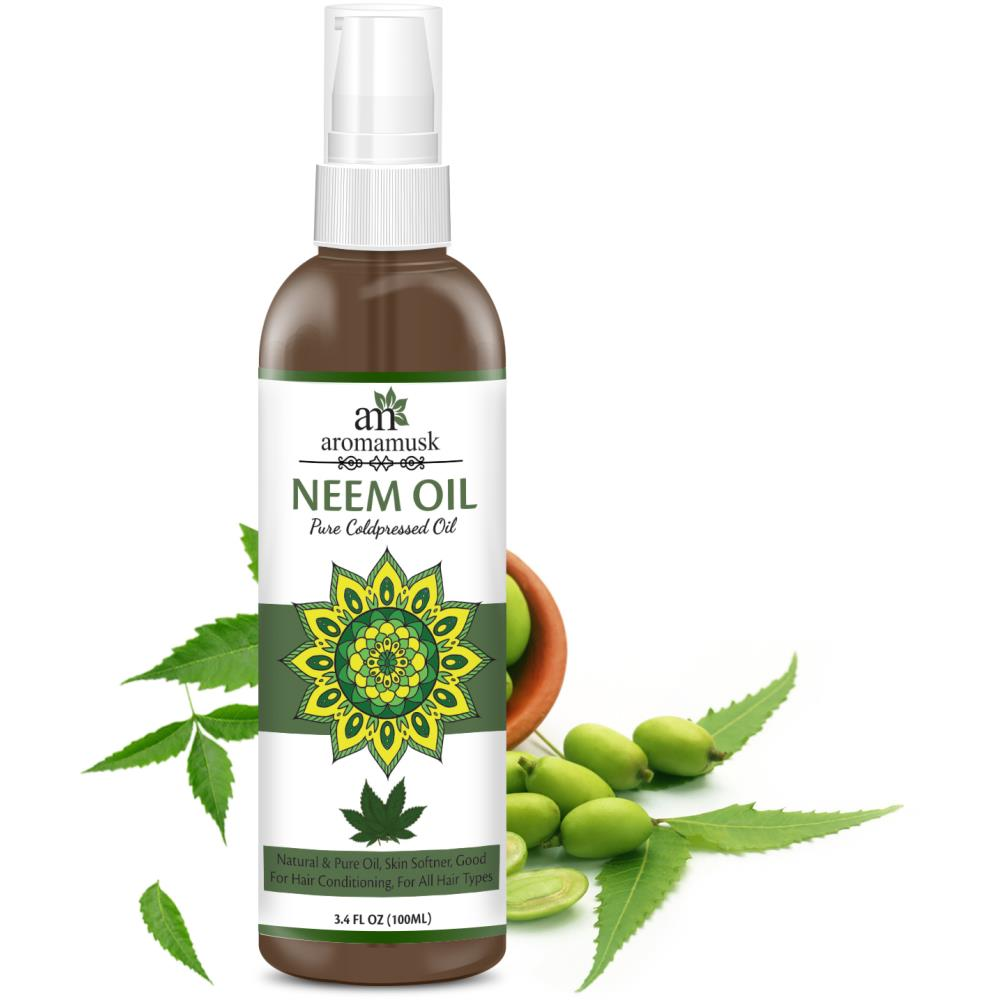 AromaMusk USDA Organic 100% Pure Cold Pressed Neem Oil For Hair, Skin & Nails - Natural Insect Repellent (100ml)