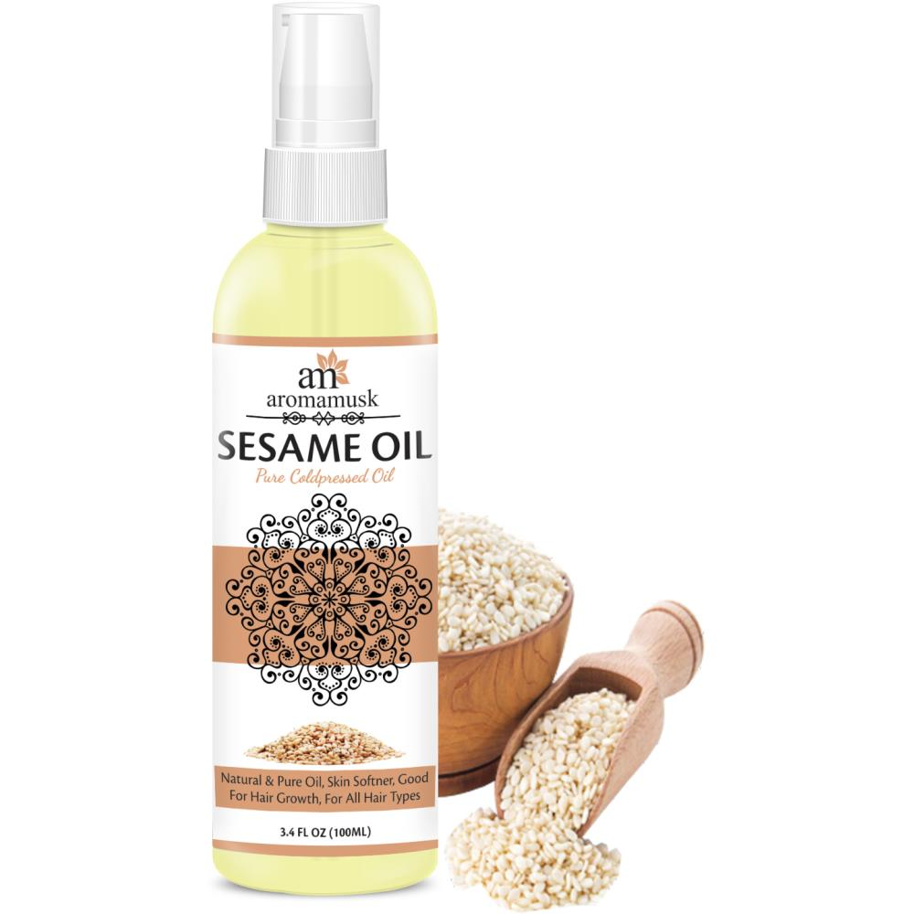 AromaMusk USDA Organic 100% Pure Cold Pressed Extra Virgin Sesame Oil For Hair And Skin (100ml)